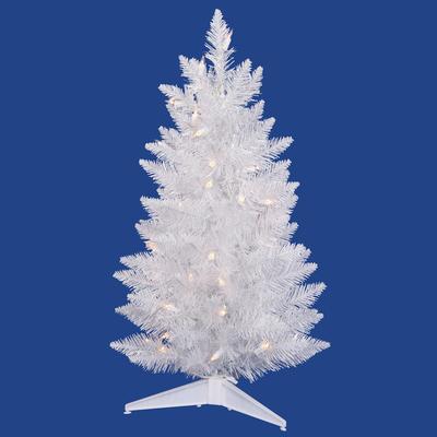 3ft white pencil christmas tree prelit crystal white led sku a104032led