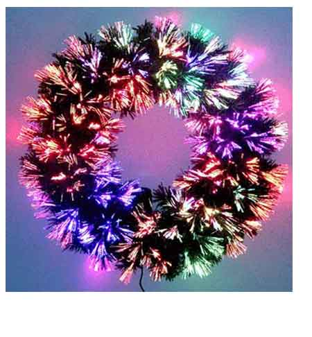 Fiber Optic Wreath 36 Inch Color Lights - 36 Fiber Optic Christmas Tree