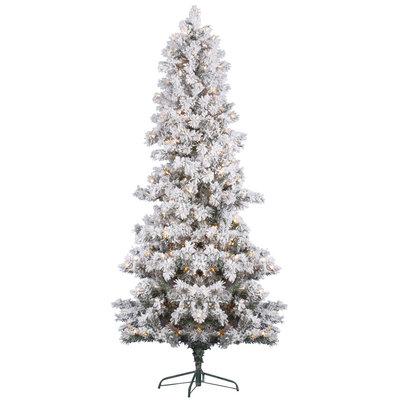 7 ft Slim Flocked Christmas Tree   Prelit Clear LED Xmas Tree